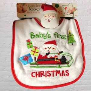 Baby's First Christmas Bib and Wrist Rattle New